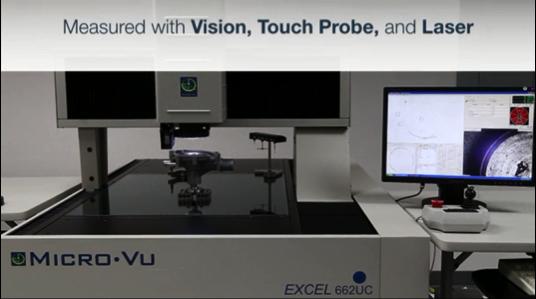 画像、タッチプローブとレーザーで測定